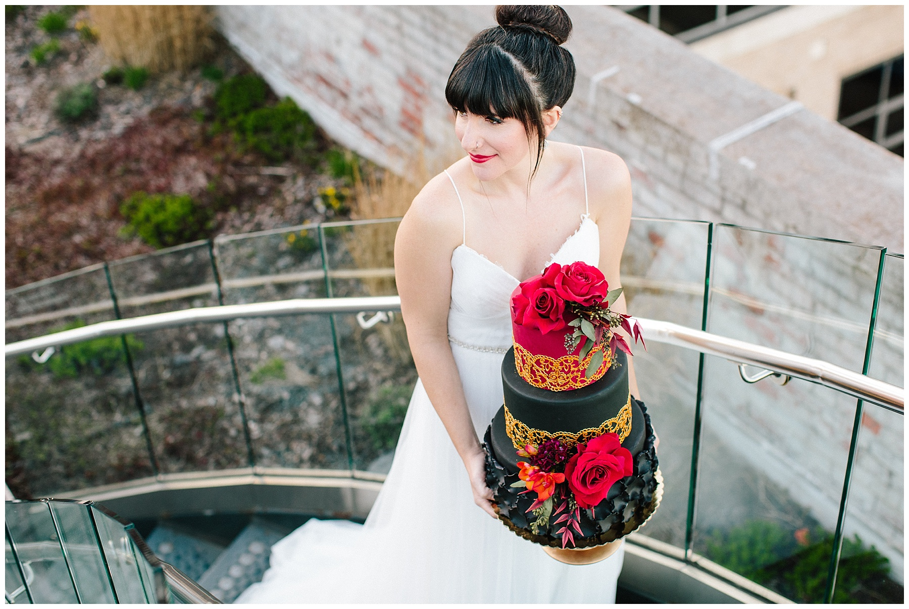 rooftop wedding inspiration, roanoke wedding, chelsea anderson photography, misty saves the day, cara cait create, studio i do bridals roanoke, studio i do, black and gold wedding